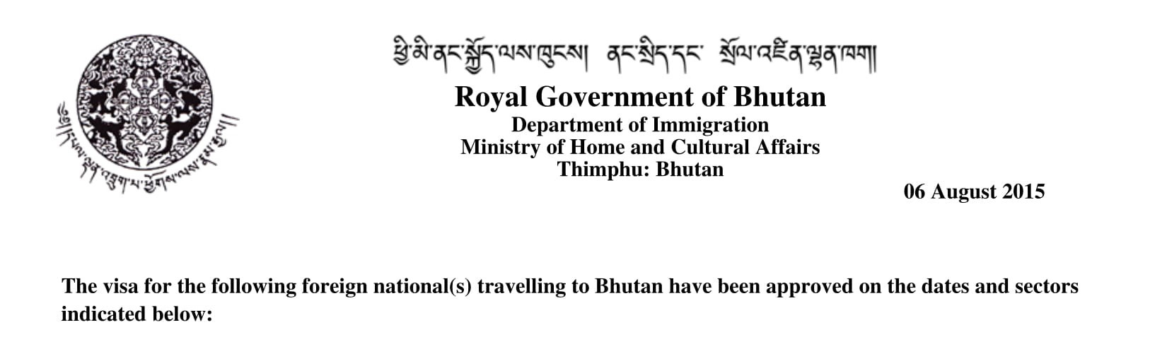bhutan visa sample